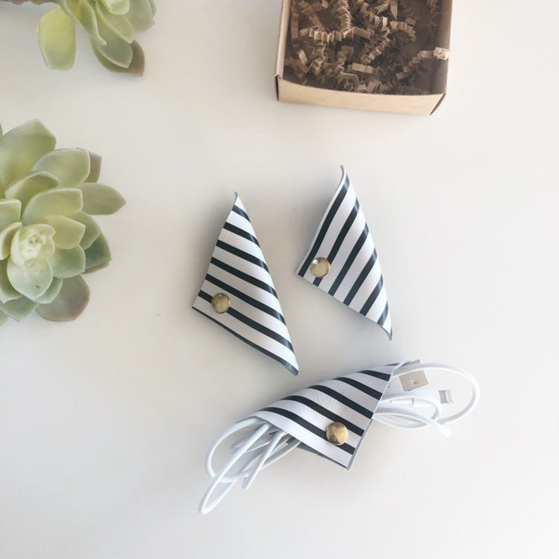 set of 3 Black and white striped leather cord keepers stocking stuffer