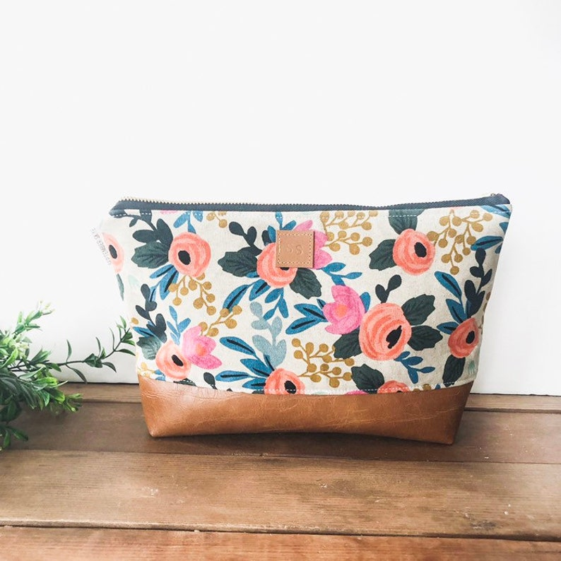 Rifle paper floral makeup bag with brown faux leather image 0