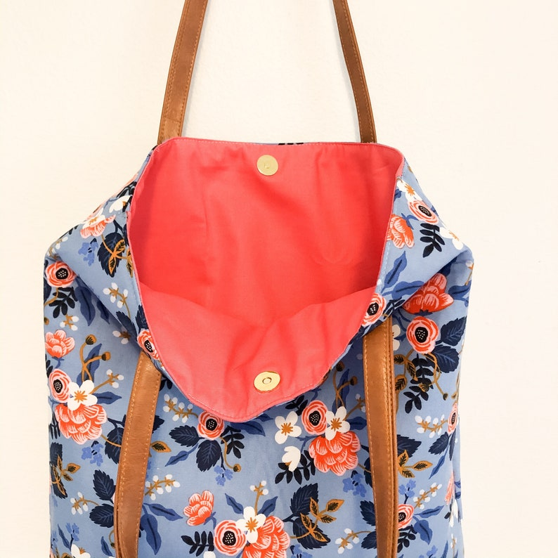Rifle paper periwinkle floral simple tote with pink interior
