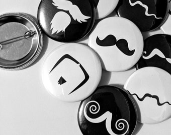Mustache Buttons - Fundraiser for Movember 2021 - Keychains, pinback buttons or fridge magnets