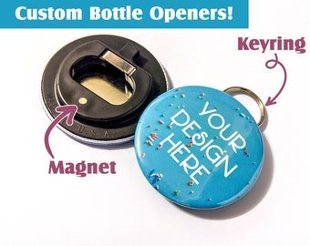 1 Custom Bottle Opener   2.25 inch - Personalized, Wedding favor, beer opener, photo bottle opener, DIY, stag party, family gifts, brewery