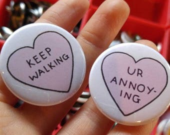 """Not so nice Valentine's 1.5"""" Buttons   Pins - Magnets - Keychains"""
