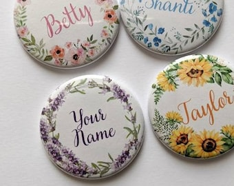 Flower Wreath CUSTOM Name buttons - 1.5 inch - Pinback buttons, Keychains, Magnets