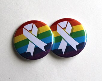 "Rainbow Ribbon   LGBT Community Pride   1.5"" Button"