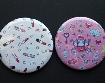 Lipstick or Fairytale 2.25inch Buttons  Pocket Mirrors, Pinback Buttons or Magnets