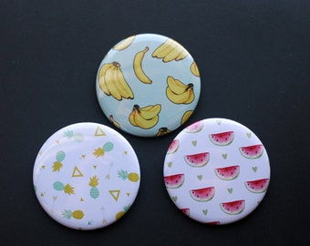 Cute Fruit 2.25 Inch Buttons | Pocket Mirrors, Pinback Buttons or Magnets