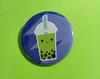 Cute Bubble Tea Button - Purple BOBA Tea badge or magnet   1.5 Inch