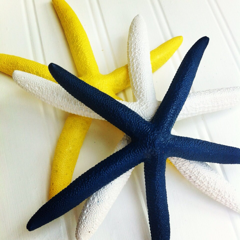 Nautical wall decor starfish set of 3 painted navy yellow | Etsy