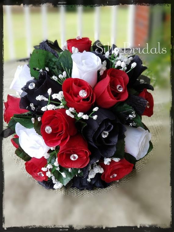 Black white apple red roses bridal bouquet bridesmaid silk etsy image 0 mightylinksfo