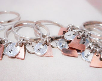 Little Trinkets // Charm Ring // Personalized Sterling Silver Monogram and Heart Ring