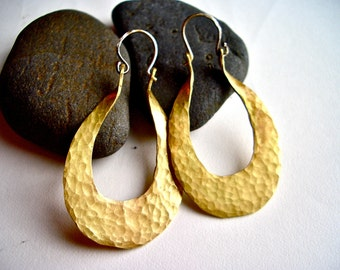 Isis Hoops in Hammered Brass