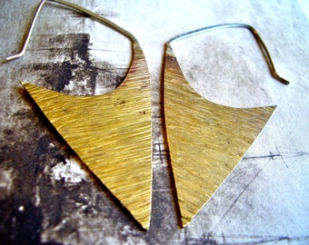 Delta Hoops in Brass and Sterling Silver