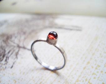 Garnet Ring // Sterling Silver