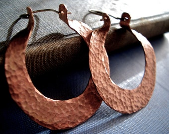 Gaia Hoops in Hammered Copper:  Natural Copper Finish