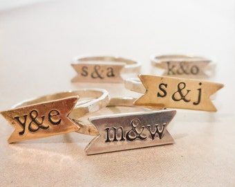 Banner Ring //  Personalized //  Sterling Silver or Brass