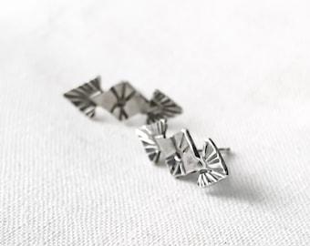 Aztec Double Arrow Stud Earrings // Sterling Silver