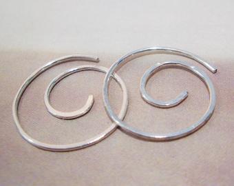 Infinite Spiral Hoops in Hammered Sterling Silver
