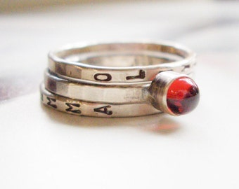 Garnet Stacking Ring // Personalized in Sterling Silver