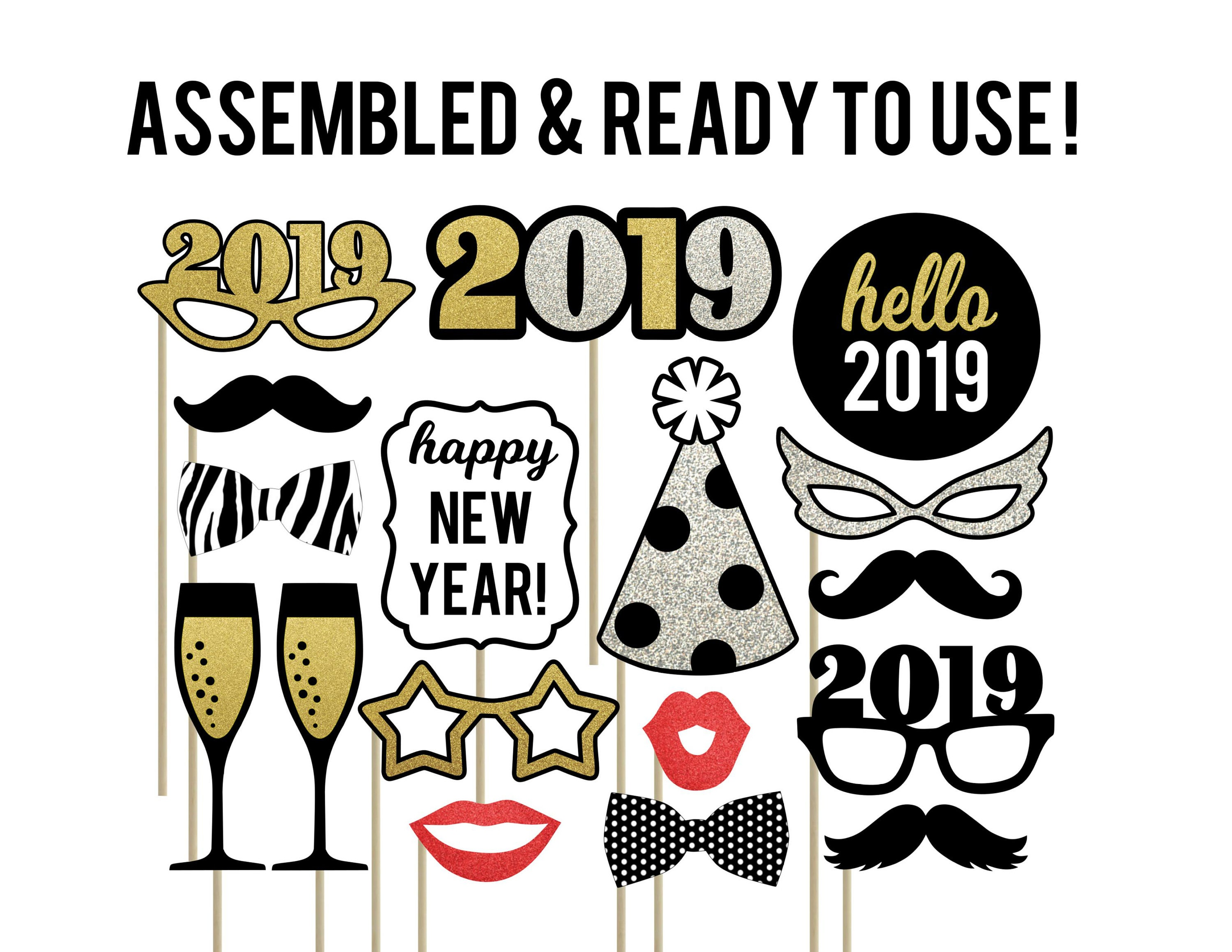 New Year Photo Booth Props New Years Eve Photo Booth Props Etsy