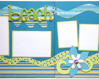 Beach Pre Made 2 Page 12x12 Scrapbook Layout