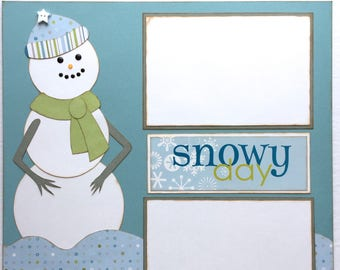 Snowy Day Pre Made 1 Page 12x12 Scrapbook Layout