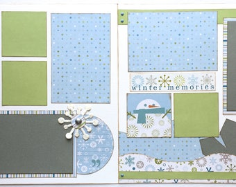 Winter Memories Pre Made 2 Page 12x12 Scrapbook Layout