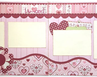Amore Pre Made 2 Page 12x12 Scrapbook Layout
