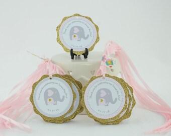 Elephant Favor Tag, Elephant Theme Baby shower, Baby Shower Tags for favors, Baby Shower Pink and Gold