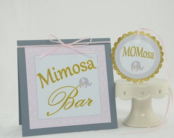 Baby Shower Decorations Girl, Baby shower Pink and Gold, Mimosa Bar Sign, MOMosa Tag, Elephant Theme Baby Shower, Elephant baby shower deco