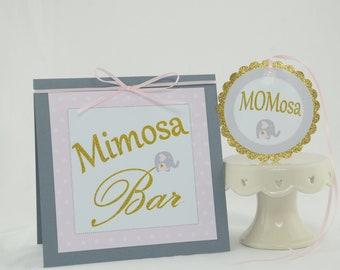 Mimosa Bar Sign, MOMosa Tag, Elephant Theme, Baby Shower