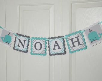 Whale Name Banner, Birthday Banner, Nautical Baby Shower, Whale Party, Sailboat Chevron Banner, Teal and Gray Banner
