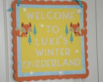 Fox Door Sign, Fox Theme, Fox Party, Fox 1st Birthday, Fox Welcome sign, Fox Baby Shower