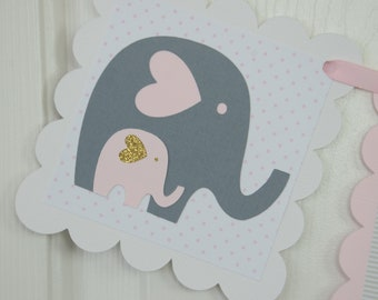 Baby Shower Decorations Girl, Elephant Baby Shower,Baby shower Pink and Gold, Pink, Gray and Glitter, Girl Baby Shower Decorations