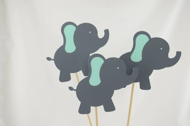 It/'s a Girl OR Boy Baby Elephant Baby Shower Decor Elephant Baby Shower Elephant Centerpiece Gender Reveal Gray and Mint Set of 4