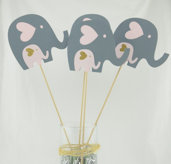 Baby Shower Decorations Girl Elephant Centerpieces Baby Shower Pink And Gold Elephant Baby Shower Pink And Gold Set Of 4 Elephant