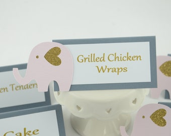 Baby Shower Decorations Girl, Elephant Tent Place Card, Food Labels, Buffet Food Label, Glittered Gold, Pale Pink And Gray, Baby shower