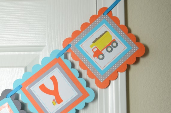 Dump Truck Happy 2nd Birthday Banner Party Construction Theme Orange Grey And Turquoise Blue