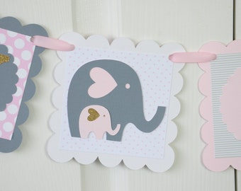 Baby Shower Decorations Girl, Baby shower Pink and Gold, Light Pink, Glittered Gold, Pale Pink And Gray