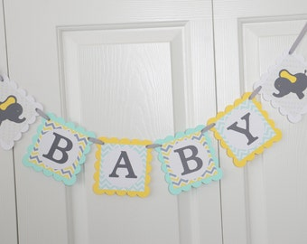 Baby Shower Banner, Elephant Baby Shower, Girl Name Banner, Yellow, Mint and Gray, Boy Baby Shower,