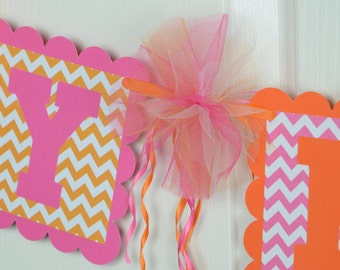 Chevron Happy Birthday Banner, Birthday Party, Hot Pink and Orange Theme,