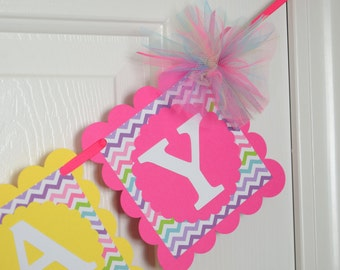 Chevron Happy Birthday 1st Banner, Birthday Party, Theme, Yellow, Turquoise, and Hot Pink Theme,