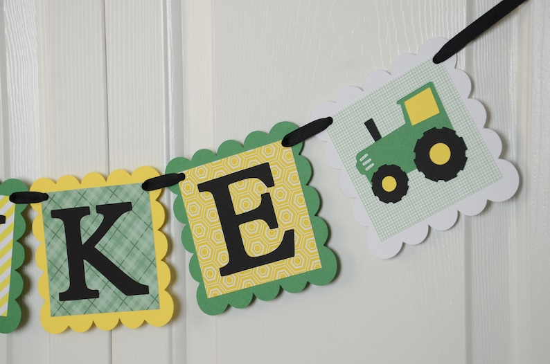Tractor Banner Tractor Name Banner Black and  Green Yellow Tractor Nursery Banner Boy Banner Tractor Baby Shower Tractor Banner