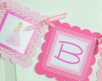 Princess Name Banner, Birthday Party,  Girl Banner, Pink Banner , Princess Theme, Princess Birthday