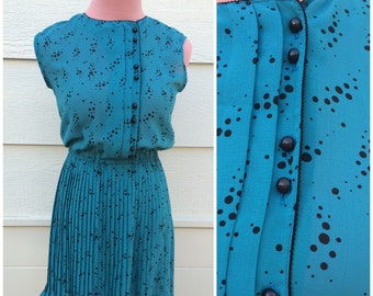 Teal black spotted sleeveless japanese vintage 70s dress size S-M