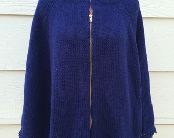 Navy blue zip front 70s knitted poncho
