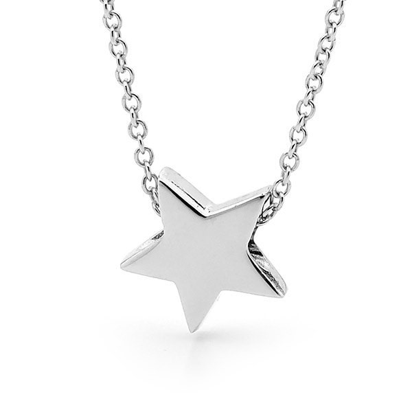 Star necklace in sterling silver small silver star pendant etsy zoom aloadofball Images