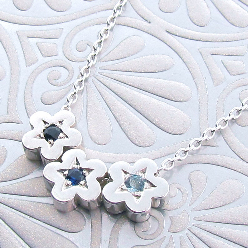 small silver flower pendant Sterling Silver and Black Sapphire small BLOSSOM Necklace small daisy pendant