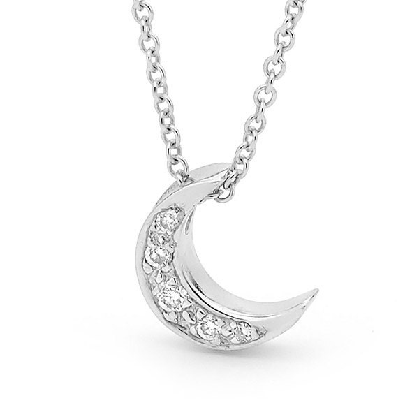 Diamond and white gold baby crescent moon necklace small etsy zoom aloadofball Image collections