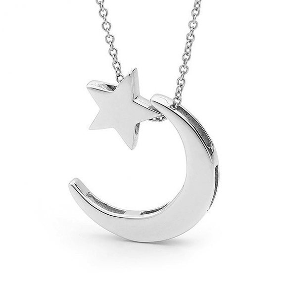 Moon And Star Necklace White Gold Crescent Moon And Baby Star Etsy