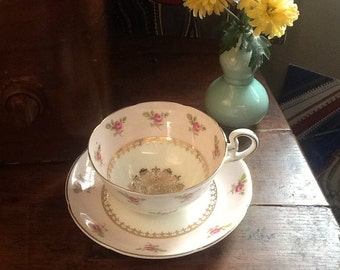 Vintage Royal Grafton Bone China Teacup and Saucer made In England pink roses